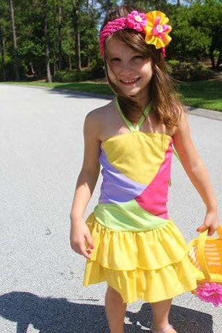 Girls patched summer dress, yellow skirt--Carousel Wear - 1