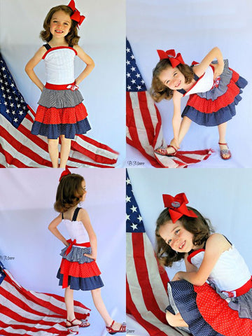 Girls Shirley Patriotic Ruffled Dress, 4th of July--Carousel Wear - 3