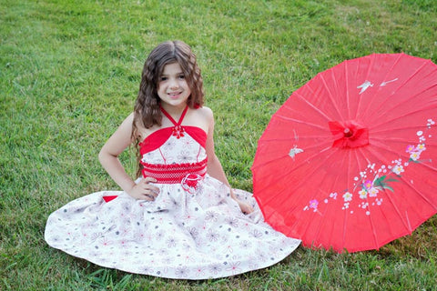 Vienna Twirly Floral White and Red Girls Dress--Carousel Wear - 2