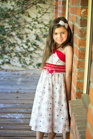 Vienna Twirly Floral White and Red Girls Dress--Carousel Wear - 1