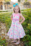 Savannah Girls Pink Summer Butterflies and Flowers Dress--Carousel Wear - 2