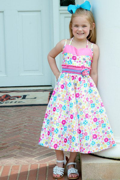 Savannah Girls Pink Summer Butterflies and Flowers Dress--Carousel Wear - 1