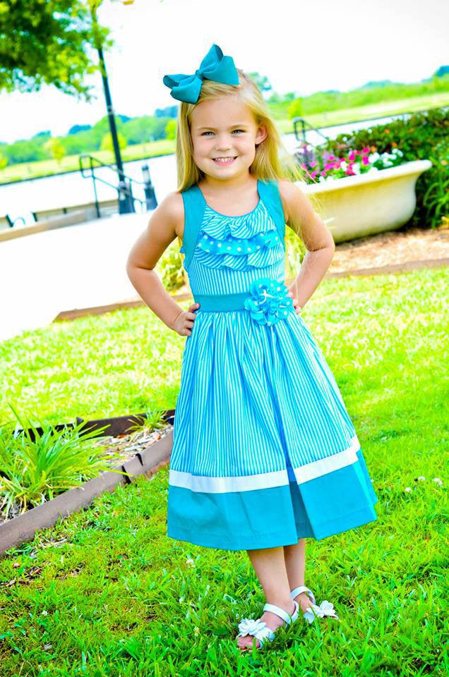 Girls Sarah turquoise teal summer dress--Carousel Wear - 3