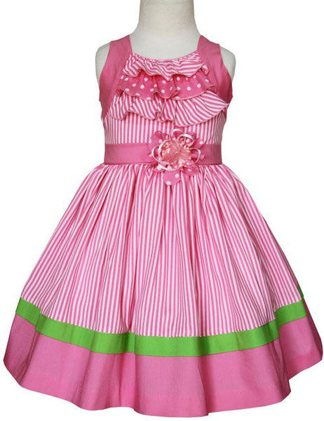 Girls Pink Zoe Striped Summer Easter Dress--Carousel Wear