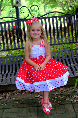 Girls Minnie ruffled polka dot red dress--Carousel Wear - 1