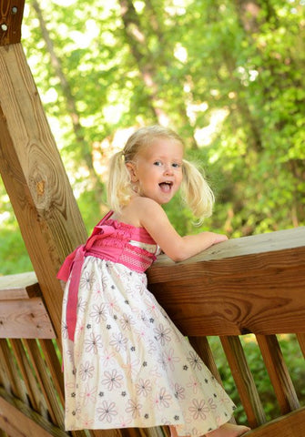 Girls Twirly floral white and fuchsia dress--Carousel Wear - 2