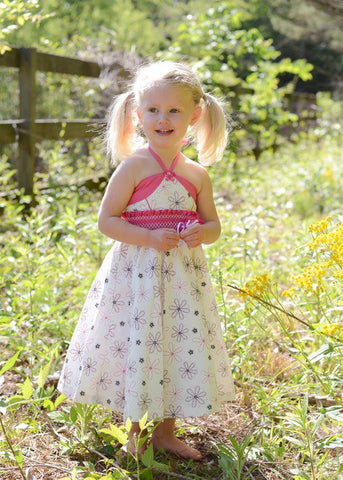 Girls Twirly floral white and fuchsia dress--Carousel Wear - 1