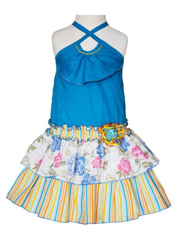 Samantha is our Girls Summer Blue Royal Ruffled Dress with 2 Tier Skirt--Carousel Wear
