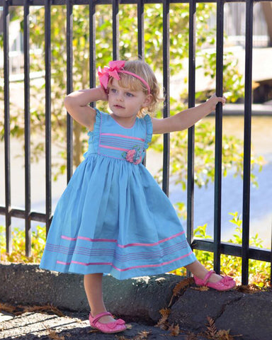 Girls Turquoise and Pink Pinafore Vintage Summer Dress--Carousel Wear - 1