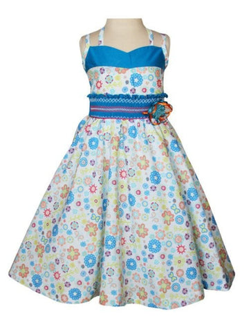 Sabina Girls Twirly Blue Floral Summer Dress with Spaghetti Straps--Carousel Wear - 2