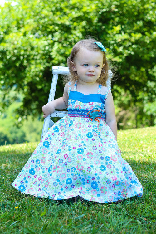 9e0d54cf ... Sabina Girls Twirly Blue Floral Summer Dress with Spaghetti Straps--Carousel  Wear - 3 ...