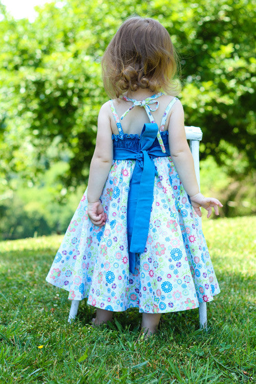 f7a307bf ... Sabina Girls Twirly Blue Floral Summer Dress with Spaghetti Straps--Carousel  Wear - 5 ...