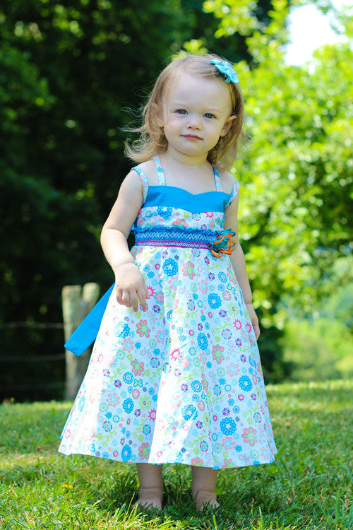8b21d553 ... Sabina Girls Twirly Blue Floral Summer Dress with Spaghetti Straps--Carousel  Wear - 6