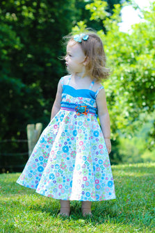 Sabina Girls Twirly Blue Floral Summer Dress with Spaghetti Straps--Carousel Wear - 1