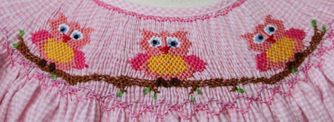 Girls Ophelia Hand Smocked Owl Bishop Dress--Carousel Wear - 2