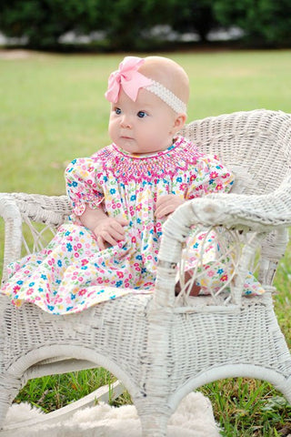 Traci our hand smocked floral girls bishop--Carousel Wear - 2