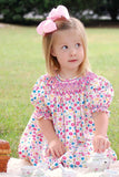 Traci our hand smocked floral girls bishop--Carousel Wear - 4