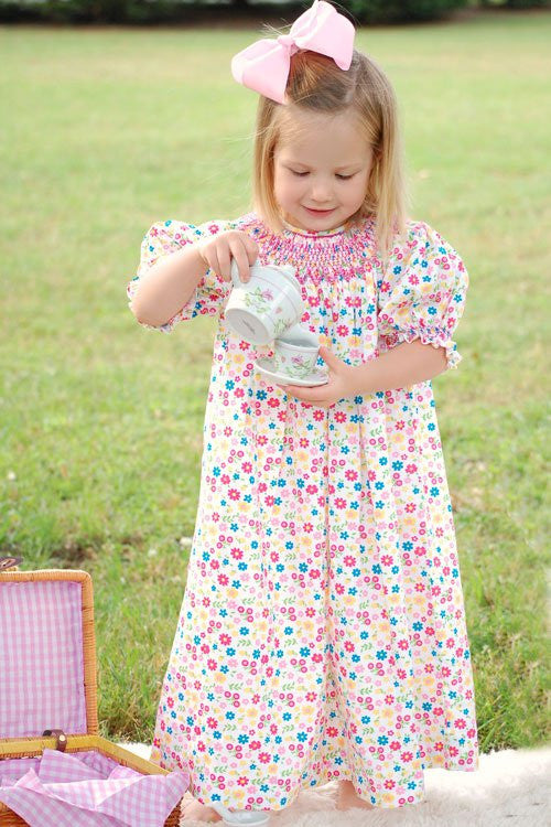 Traci our hand smocked floral girls bishop--Carousel Wear - 1