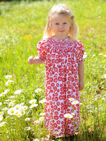Little Girls Red Floral Smocked Bishop Dress Willow--Carousel Wear - 1