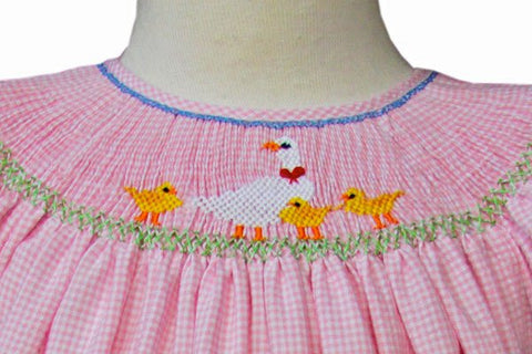 Baby Girls Pink Bishop Dress with Hand Smocked Easter Ducklings--Carousel Wear - 2