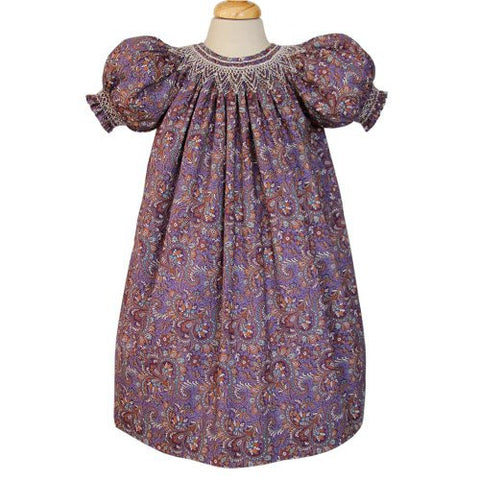 Purple Paisley Girls Smocked Fall Dress Eleanor--Carousel Wear - 2