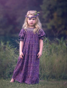 Purple Paisley Girls Smocked Fall Dress Eleanor--Carousel Wear - 1