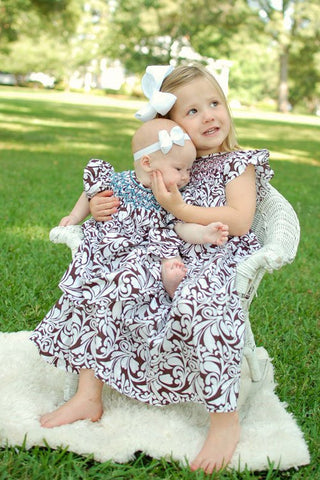 Toddlers Girls Brown Damask Bishop Dress Annie--Carousel Wear - 2