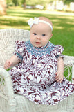 Toddlers Girls Brown Damask Bishop Dress Annie--Carousel Wear - 4