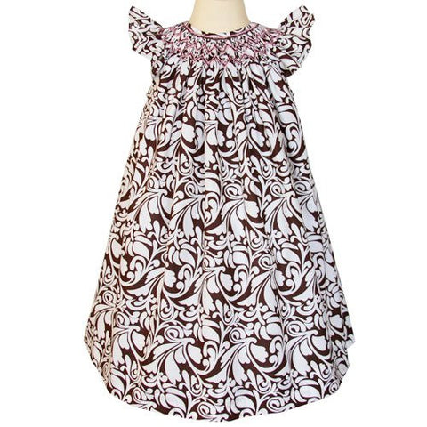 Amber Girls Damask Summer Bishop Dress with Pink Smocking--Carousel Wear - 2