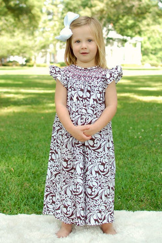 Amber Girls Damask Summer Bishop Dress with Pink Smocking--Carousel Wear - 1