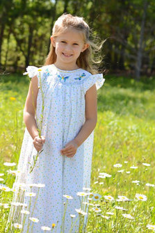 Girls Butterfly Smocked Bishop Dress--Carousel Wear - 1
