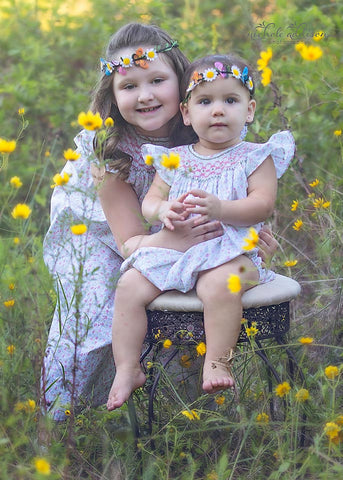 Beautiful girls floral smocked dress Courtney and coordinated sister bubble Carry--Carousel Wear - 2