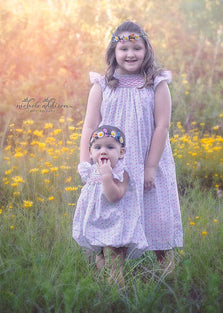 Beautiful girls floral smocked dress Courtney and coordinated sister bubble Carry--Carousel Wear - 1