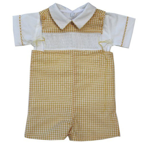 Ready to smock boys yellow shortall--Carousel Wear
