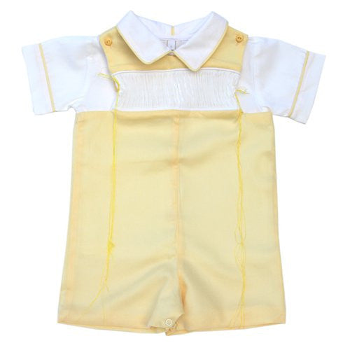 Ready to smock boys Easter yellow shortall--Carousel Wear