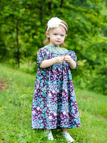 Agatha Girls Paisley Fall Bishop Dress with Smocking--Carousel Wear - 4