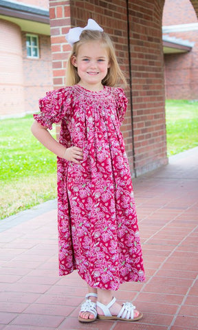 Girls Red Paisley Addison Smocked Bishop Fall Dress--Carousel Wear - 1