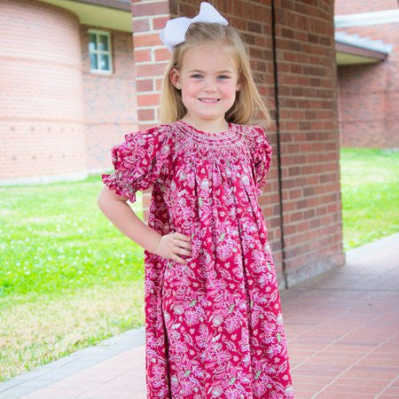 Girls Red Paisley Addison Smocked Bishop Fall Dress--Carousel Wear - 2