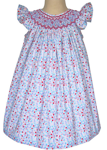 Celine is a Hand Smocked Floral Summer Bishop Dress for Girls--Carousel Wear  ... - Hand Smocked Girls Bishop Dresses