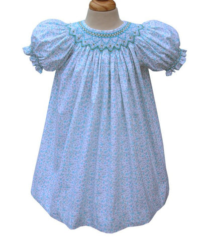 April Girls Spring Bishop Dress With Smock in Turquoise--Carousel Wear - 1