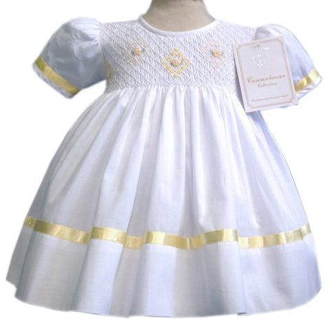 Savanah girls classic white dress with yellow ribbons and smocking--Carousel Wear