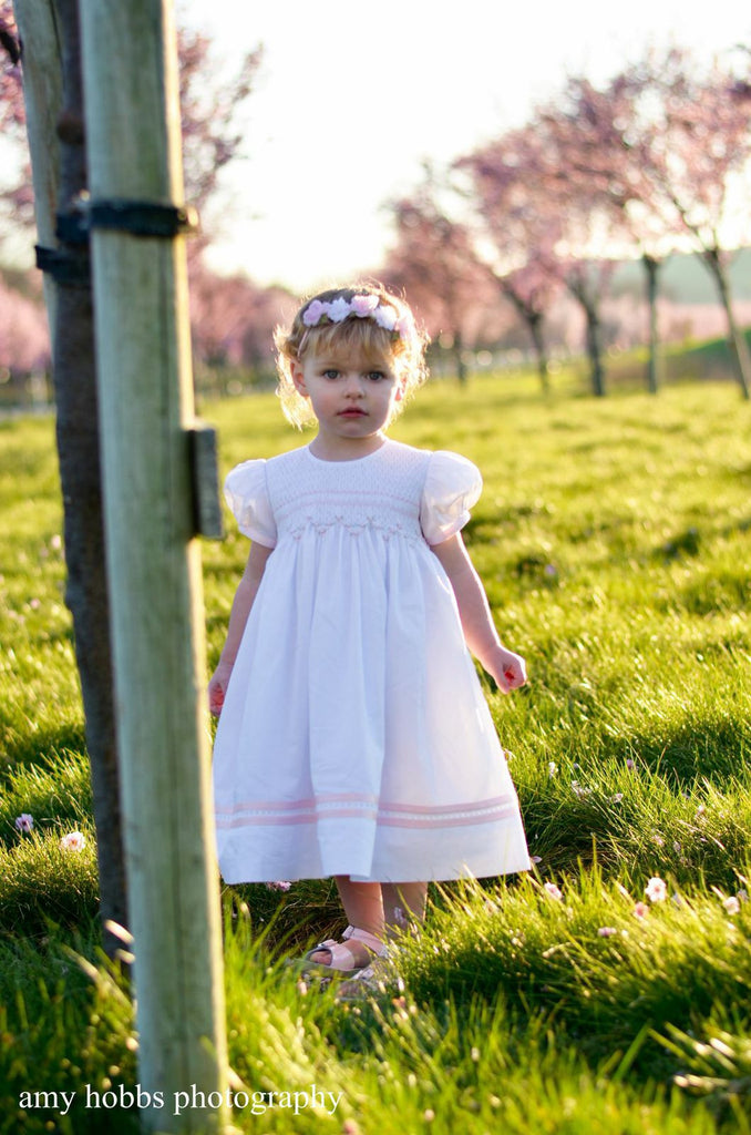 Baby Girls White Heirloom Dress with Pink Ribbons and Hand Smocking--Carousel Wear - 1