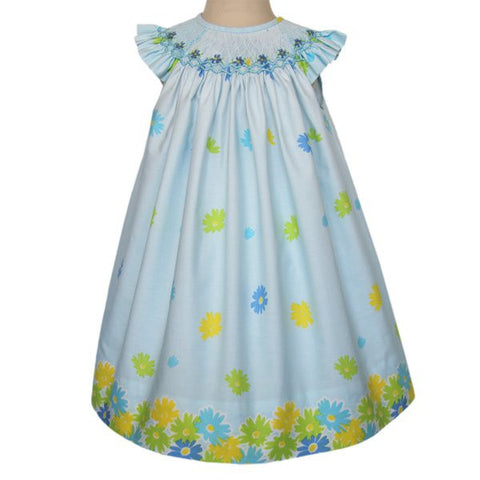 Venecia floral Easter blue girls dress--Carousel Wear - 1