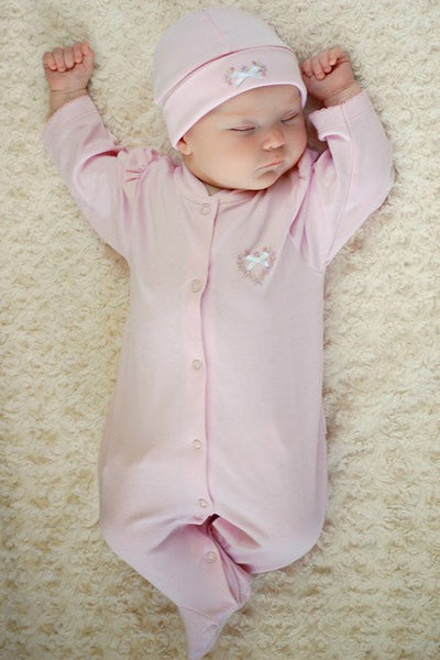 Baby Girl Jessica Pink Footie, Optional Hat and Blanket--Carousel Wear - 1
