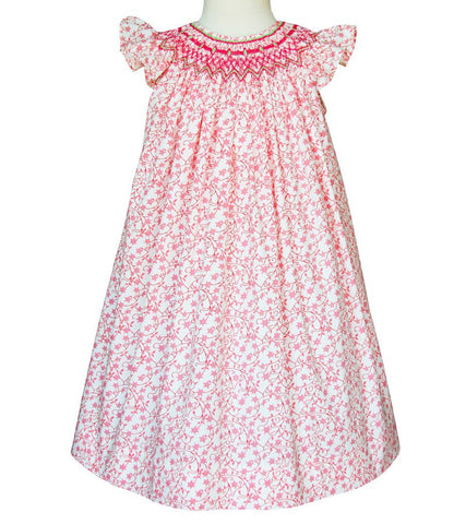 Girls Olivia pink smocked Summer Angel wing style dress--Carousel Wear - 2