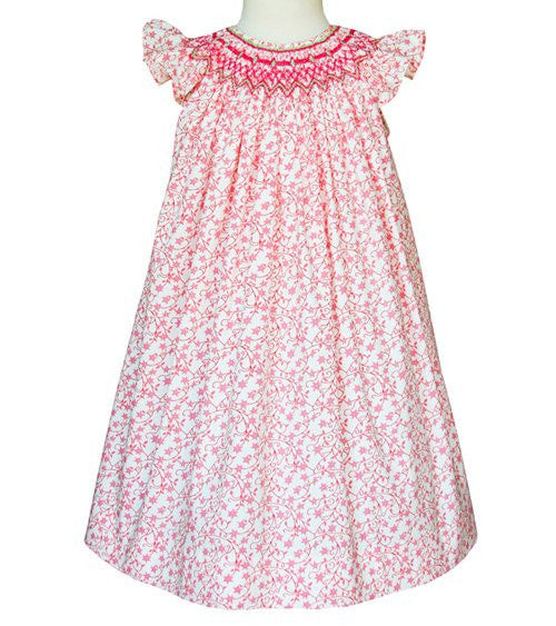 Girls Olivia pink smocked Summer Angel wing style dress--Carousel Wear - 1