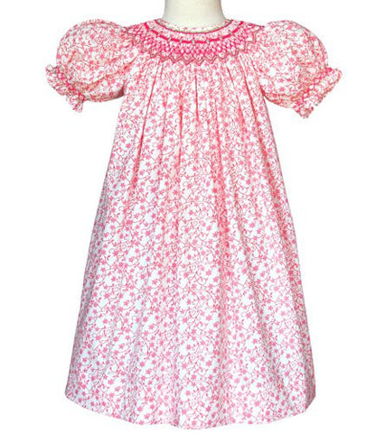 Girls pink Lilly smocked dress with stars and vines for Easter--Carousel Wear - 1