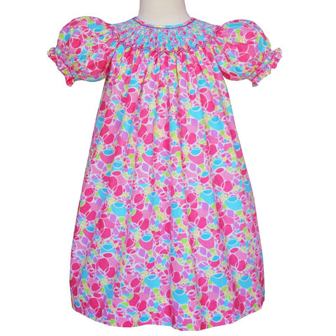 Beatrix Smocked girls pink bishop dress--Carousel Wear - 2