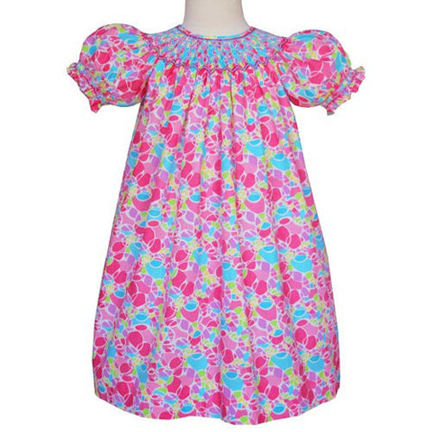Beatrix Smocked girls pink bishop dress--Carousel Wear - 1