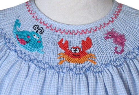 Coralia Smocked Sea Creatures Girls Bishop Dress--Carousel Wear - 2